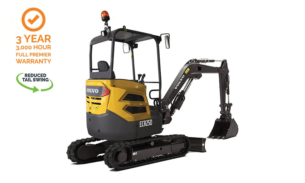 Volvo-ECR25D-Compact-Mini-Excavator-CJD-Warranty-Reduced-Swing