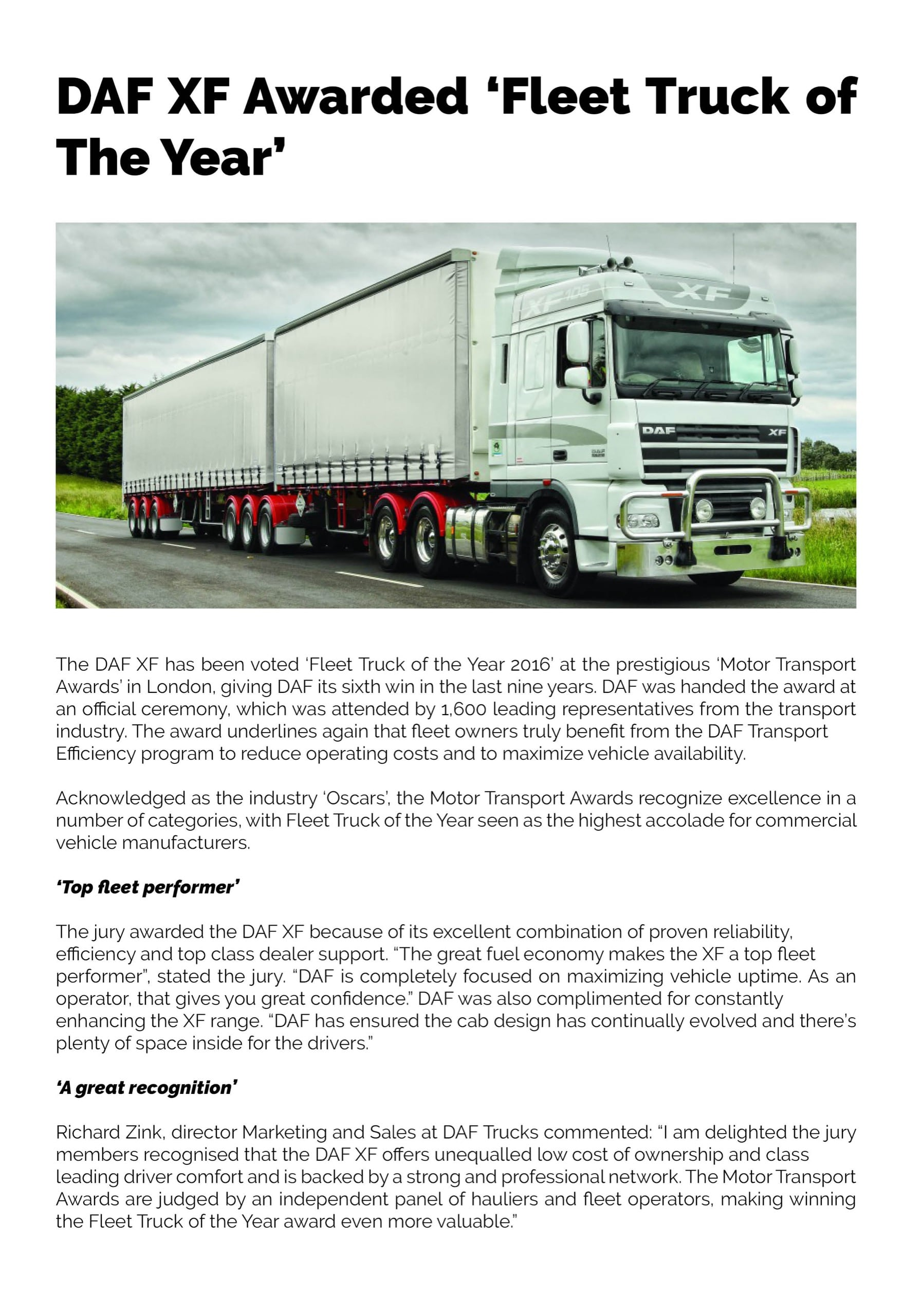 DAF XF Awarded Fleet Truck of the Year